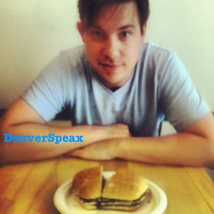 Steven Mercer enjoying his Pesto Chicken Panini. Credit: Kirsten Ebey June 2013