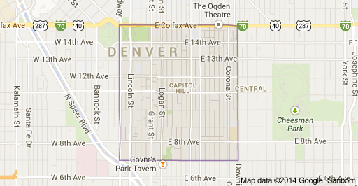map of cap hill denver