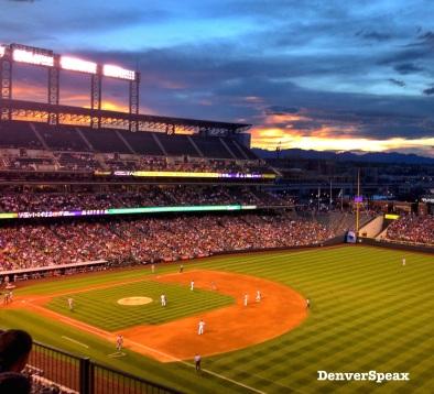 baseball diamon sunset