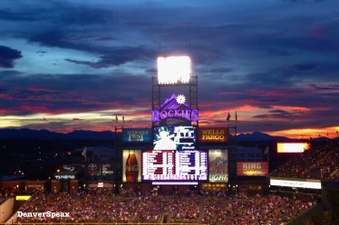 rockies sign sunset
